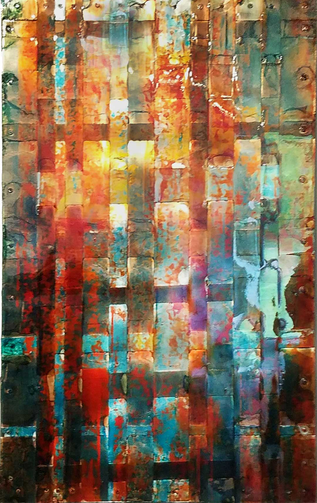 Patchwork Quilt Woven Copper Contemporary Abstract Art