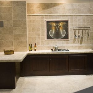 Gold Circles tiled into a kitchen wall as a focal point.